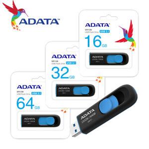 ADATA 16GB / 32GB / 64GB Capless Design USB 3.1 Flash Pen Drive UV128 BLACK