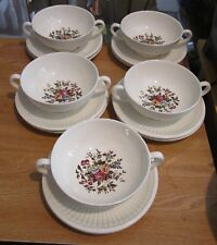 5 Wedgwood CONWAY Cream Soup Bowls & 10 Saucers - Edme, Multicolor Floral Center