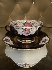 Vintage Winterling Bavaria Germany Tea Cup And Saucer Black Pink Gold