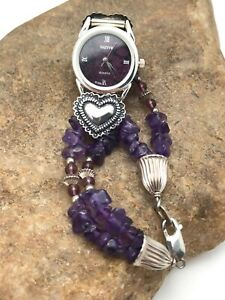 "Native American Purple Amethyst  Watch Head Tips Sterling Silver 6.75"" 3263"