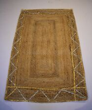 Hand Woven Jute Rug & Silver Zari & Golden Zari Work Rug Carpet
