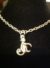 Necklace with monkey charm silver plated