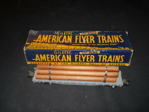 Gilbert American Flyer S Scale  #628 C&NW Metal Log Car w/Load and with Box