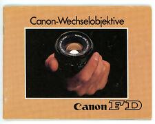 CANON WECHSELOBJEKTIVE Broschüre Canon FD Makro Tele Weitwinkel Objektive (Y748