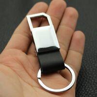 Car Styling Leather Belt Chrome Keyring Keychain Metal Key Chain For Men Women