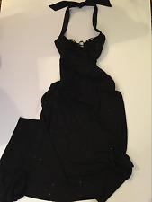 Jodi Kristopher Sz 8 Rhinestone Stretch Long Gown Cutaway Back Formal Evening