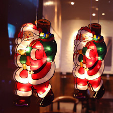 New Santa Claus Led Suction Cup Xmas Window Hanging Lamp Christmas Scene Light