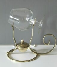 Vintage Brass Lamp Brandy Warmer with Glass