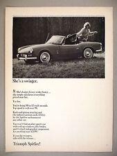 Triumph Spitfire Sports Car PRINT AD - 1964