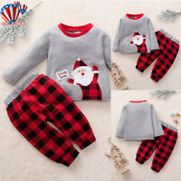 Xmas Boys Girls Santa Claus Tops+Pants Outfits Toddler Kids Christmas Outfits US