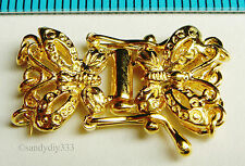 1x REAL 18K GOLD plated STERLING SILVER 3-STRAND BUTTERFLY BOX CLASP G025