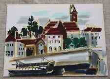 Superbe feutre Genevieve Schmied (1928-2002) péniche village au clocher env 1980