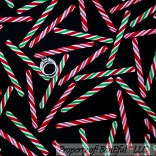 BonEful FABRIC FQ Cotton Quilt B&W Red White Green Xmas Candy Peppermint Stripe
