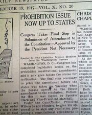 Prohibition Adopted No Beer Liquor House Senate Vote Approves 1917 Newspaper