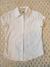 Cherokee White Short Sleeve Button Front Shirt Top Sz M 7-8