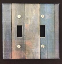 Wood Planks Light Switch Cover Plate Aged Wood Image Blue Beach Country Decor