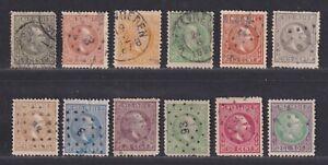 Netherlands Indies Scott 3//16 Used 1870 William III Issue 12 Different SCV $94