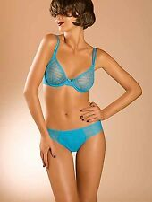 NWT Chantelle ILLUSION Lined Bra / Thong, 36DD / M Curacao Blue