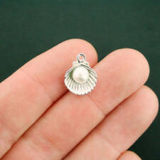 6 Seashell Charms Antique Silver Tone Oyster With Faux Pearl - SC7445