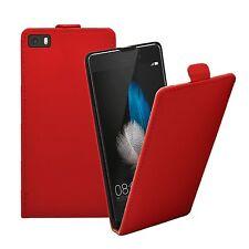 Rojo Ultra Delgado Estuche Abatible de Cuero Cubierta De Teléfono Móvil Para Huawei P8 Lite 2015