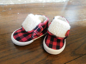 New Cozy Sesame Street Elmo Red Plaid Toddler Boots Sz 3 Wide Free Shipping CUTE