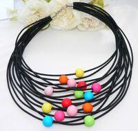Kette Halskette Collier Statement Textil schwarz Perlen bunt mehrfarbig t01a