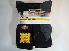 Dickies Size 6-12 Mens Comfort Crew Work Socks 5 Pairs Pack Black long tall