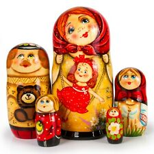 """7"""" 5 pcs Hand Painted Nesting Dolls. Russian Matryoshka Doll with Girl on Swings"""