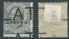 1923 SASENO EFFIGIE 15 CENT DEMONETIZZATO MH * - D1