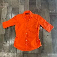 New York & Co. Womens Size XS Solid Collared 3/4 Sleeve Button-Up Orange Shirt