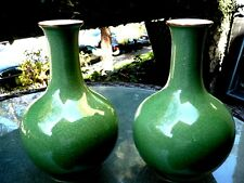 BEAUTIFUL A PER OF 2 CHINESE CELADON CRACKLE CRACKED PORCELAIN GREEN VASES