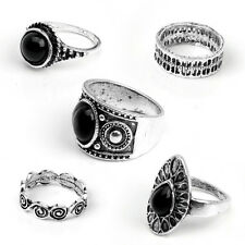 5pcs/Set Fashion Vintage Antique Girls Ring Natural Black Stone Finger Ring