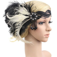 Retro Feather Headband Bridal Gatsby Flapper Costume Dress Headpiece Noted