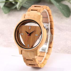 Triangle Dial Full Wood Watch Men Women Quartz Handmade Bamboo Wooden Gift