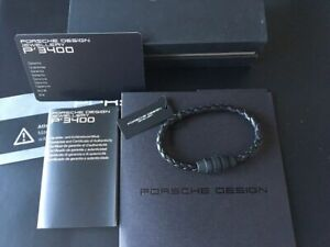 Porsche Design Bracelet Grooves stainless steel all black 19 cm 21,5 cm *NEW*
