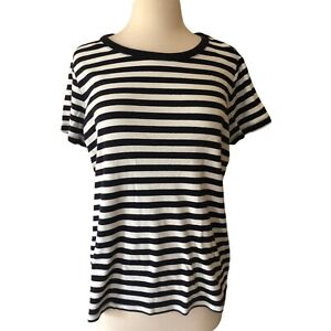 Lands End NEW LARGE Black Striped Crew T Shirt Ribbed Short Sleeve Outfitters