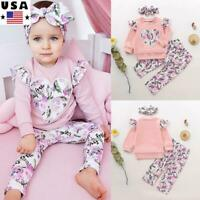 3Pcs Newborn Baby Girls Kids Floral Tops+Long Pants+Headband Outfits Clothes Set