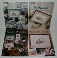 Lot (4) Leisure Arts PAULA VAUGHAN Cross Stitch Chart Leaflet Books # 7,17,42,44