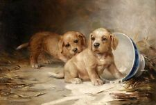 Hand painted oil painting lovely and cute animals puppy with Dumping milk bowls
