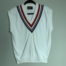 Vintage 80s Prince White Cotton V-Neck Mens L Tennis Sweater Vest Made in USA