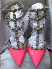 Valentino AUTH NIB Pink Patent 65MM Rockstud 37 Cage Triple T-Strap Pumps