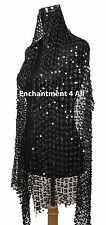 Sassy Handmade Crochet Net Stage Scarf Wrap Costume w/ Dazzling Sequins, Black
