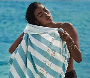 """Victorias Secret Sea Stripe Teal Beach Towel 34""""x36"""" NWT"""