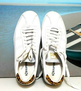 """Superga white leather sneakers, sz. 10,5/42 """"ON SOLID GROUND"""""""