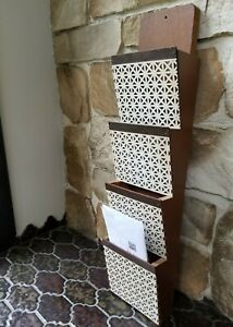 VTG 5 Tier Wood/Perforated Breeze Block Wall Mail Organizer/Letter/Bill Holder