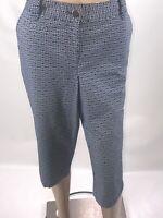 Ann Taylor Womens Capri Pants Size 8 Blue White Cotton Knit Mid Rise Casual Zip