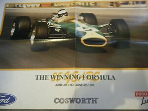 JIM CLARK LOTUS 49 POSTER FORD COSWORTH DFV 25 YEARS 1967 1982 AFFICHE
