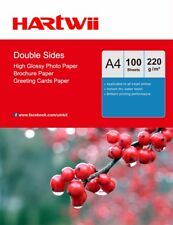 100 Sheets A4 220Gsm Double Sided High Glossy Photo Inkjet Paper Print Hartwii