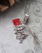 Alice in Wonderland White Rabbit Red Heart Bracelet European Charm Only UK