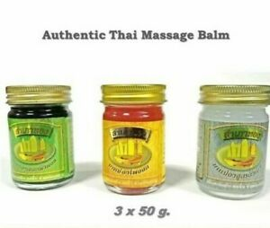 3 x 50g Thai Herbal Balm for Muscle Pain Relieve Gold Barque Pain Relief Natural